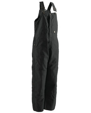 Berne Brown Duck Deluxe Insulated Bib Overalls - 2XTall, Black, hi-res