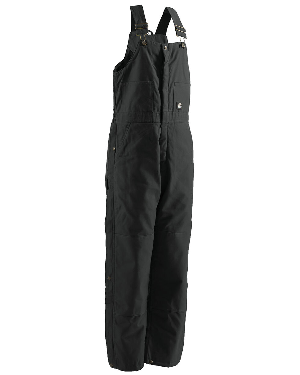 Berne Brown Duck Deluxe Insulated Bib Overalls - 2XTall, Black, hi-res