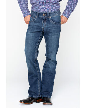 Wrangler Rock 47 Men's Slim Fit Boot Cut Jeans , Blue, hi-res