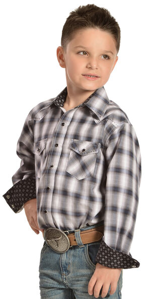 Red Ranch Boys' Blue Plaid Contrasting Stitch Shirt , Blue, hi-res