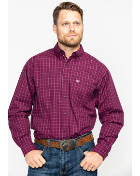 Ariat Men's Dunn Purple Dahlia Print Long Sleeve Western Shirt - Big & Tall , Purple, hi-res