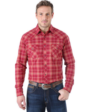 Wrangler Men's 20X Advanced Comfort  Burgundy and Blue Plaid Western Shirt , Burgandy Plaid, hi-res