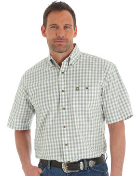 Wrangler George Strait Men's Green Short Sleeve Plaid Shirt , Olive, hi-res