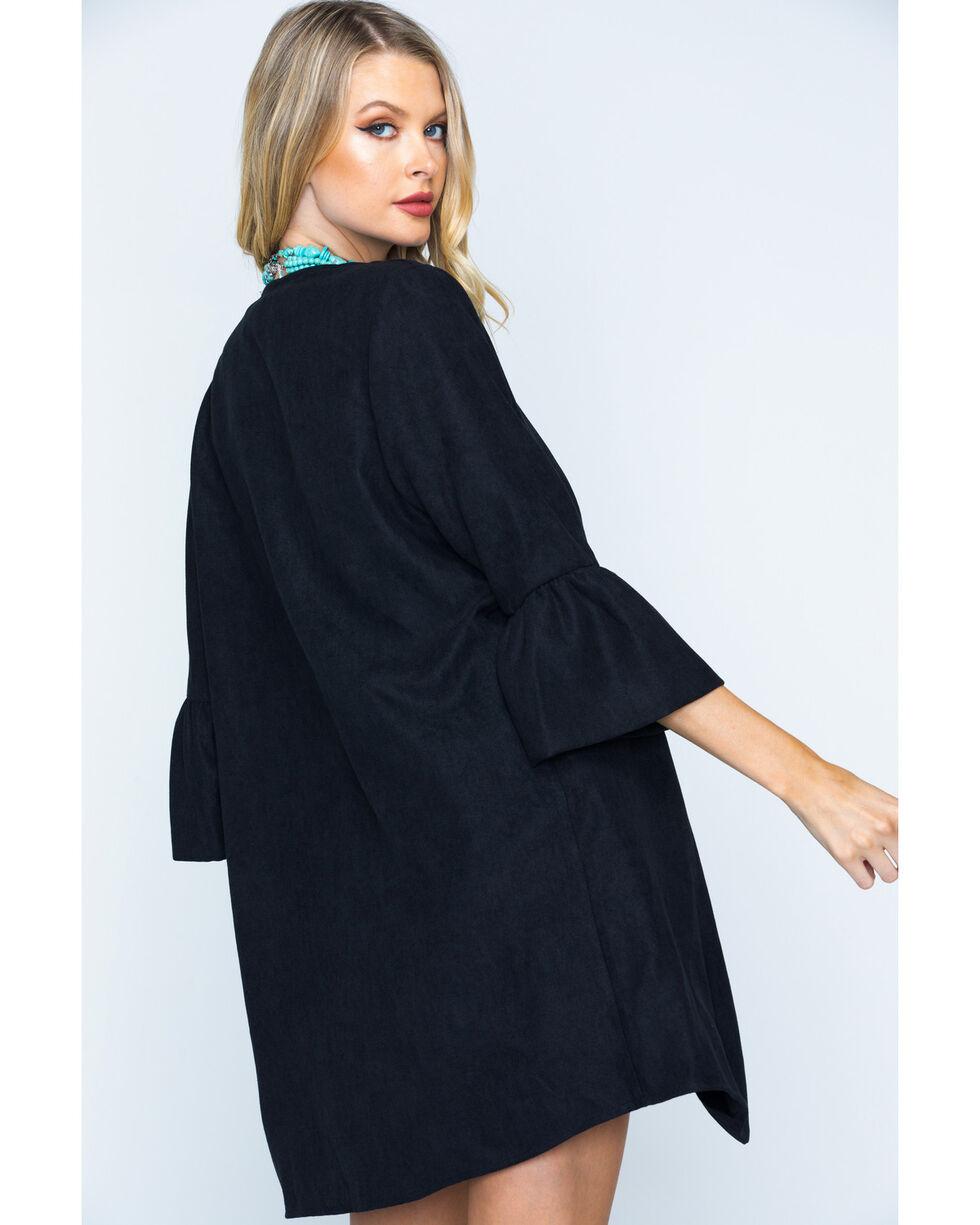 CES FEMME Women's Black Bell Sleeve Open Front Cardigan , Black, hi-res