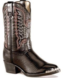 Durango Boys' Lizard Print Boots, Black, hi-res