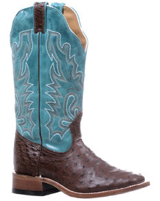 Boulet Women's Full-Quill Ostrich Leather Western Boots - Wide Square Toe, Blue, hi-res