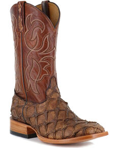 Cody James Men's Pirarucu Exotic Boots - Square Toe, Brown, hi-res