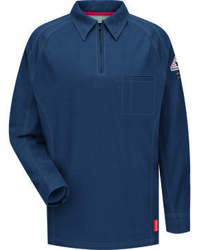 Bulwark Men's Dark Blue iQ Series Flame Resistant Long Sleeve Polo , Dark Blue, hi-res