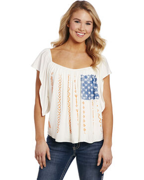 Cowgirl Up Women's American Flag Blouse , White, hi-res