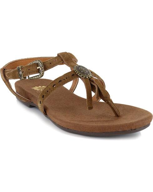 Yellow Box Women's Carob Suede Fringe Sandals, Chestnut, hi-res