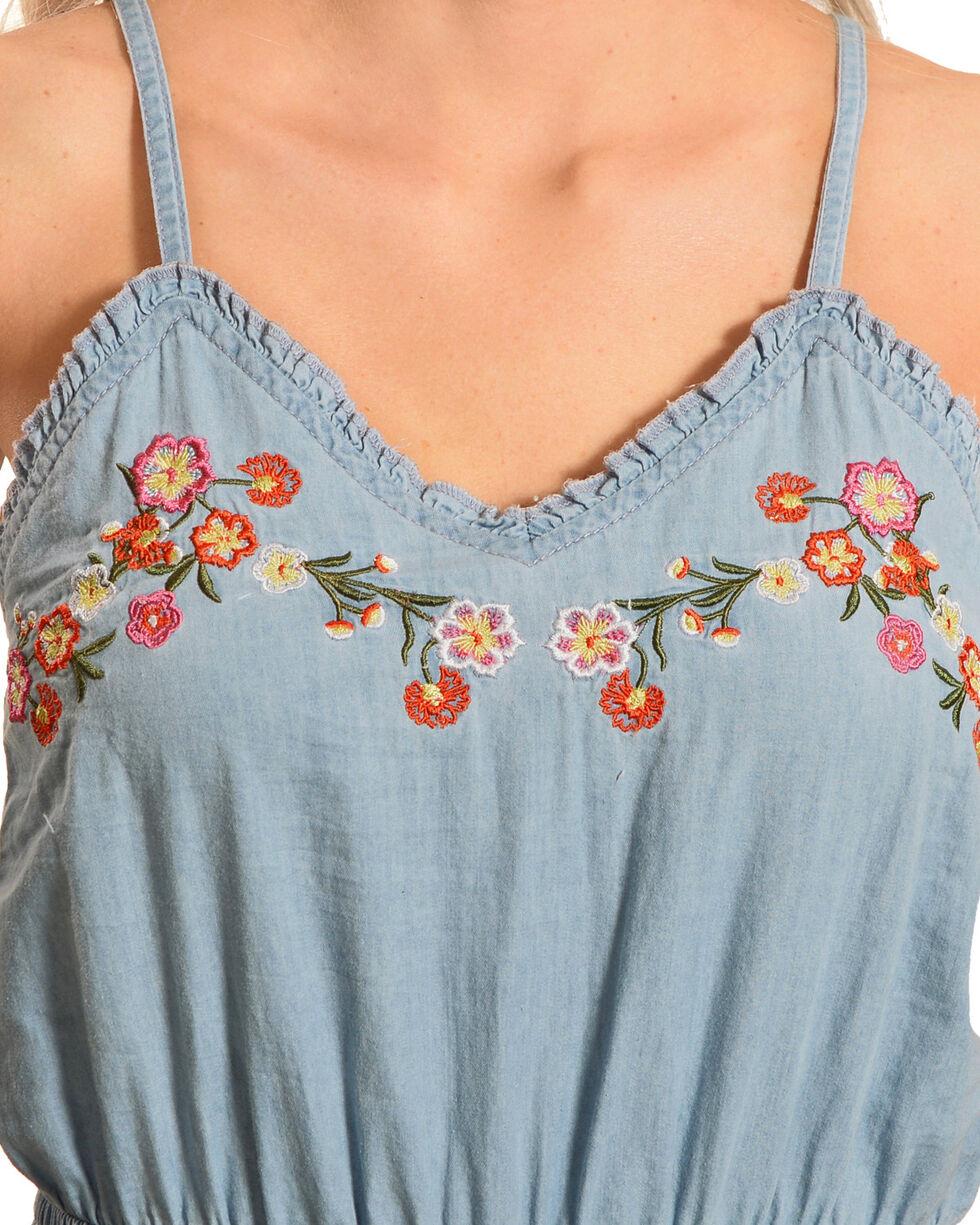 Derek Heart Women's Embroidered Denim Jumpsuit, Blue, hi-res