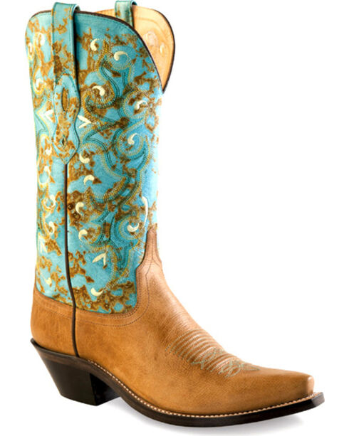 Old West Women's Tan and Turquoise Western Boots - Snip Toe , Tan, hi-res