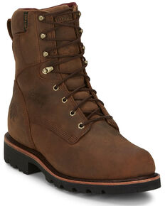 Chippewa Men's Waterproof Work Boots - Soft Toe, Brown, hi-res
