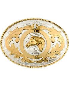 Western Express Men's Horsehead Belt Buckle , Silver, hi-res