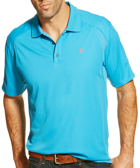 Ariat Men's Methyl Blue TEK Short Sleeve Polo Shirt , Blue, hi-res