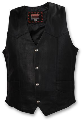 Interstate Leather Motorcycle Vest, Black, hi-res