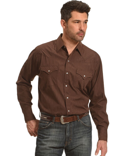 Ely Cattleman Men's Chocolate Solid Western Shirt , Chocolate, hi-res
