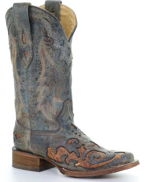 Corral Women's Turquoise Snake Inlay Cowgirl Boots - Square Toe , Turquoise, hi-res