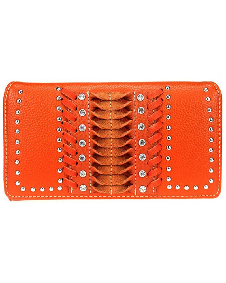 Montana West Women's Orange Stitch Wallet, Orange, hi-res