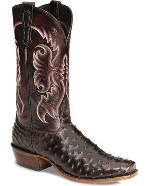 Nocona Men's Black Cherry Full Quill Ostrich Boots - Sq Toe, Black Cherry, hi-res