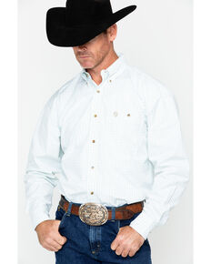 George Strait by Wrangler Men's Two-Tone Plaid Long Sleeve Western Shirt , Green, hi-res