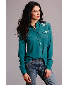 Stetson Women's Teal Floral Long Sleeve Western Shirt, Teal, hi-res