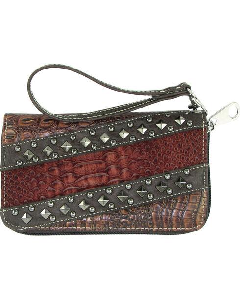 Savana Women's Tan Croc Snake Studded Zip Around Wallet, Tan, hi-res