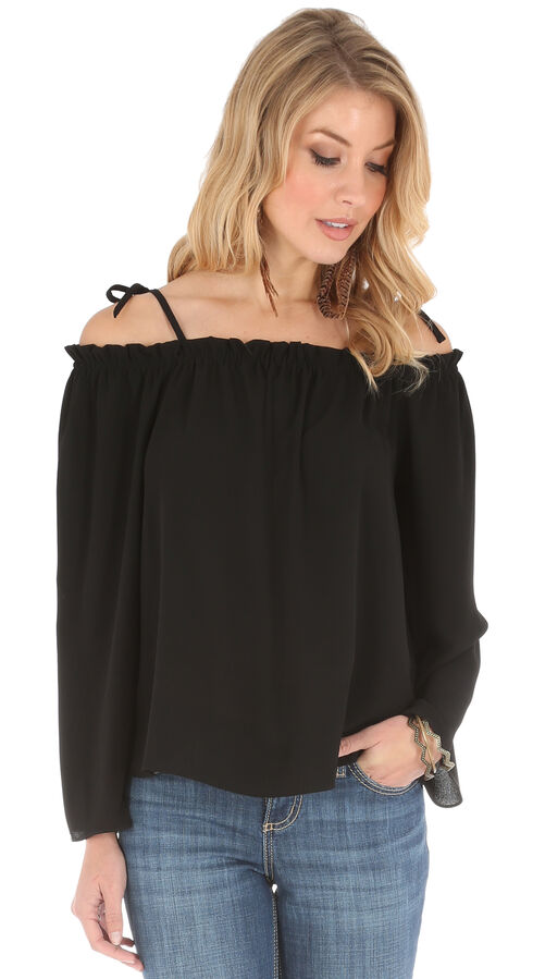 Wrangler Women's Strap Shoulder Peasant Top, Black, hi-res