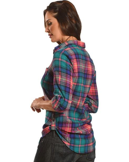 Derek Heart Women's Fergies Plaid Flannel Shirt , Green, hi-res
