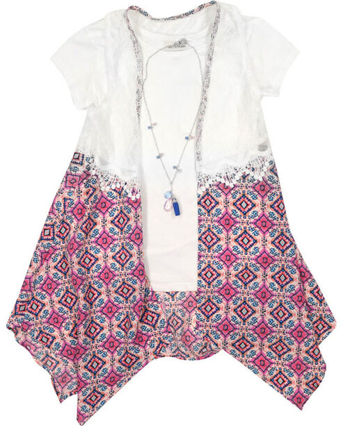 Self Esteem Girls' Duster Tee and Necklace Set, Ivory, hi-res