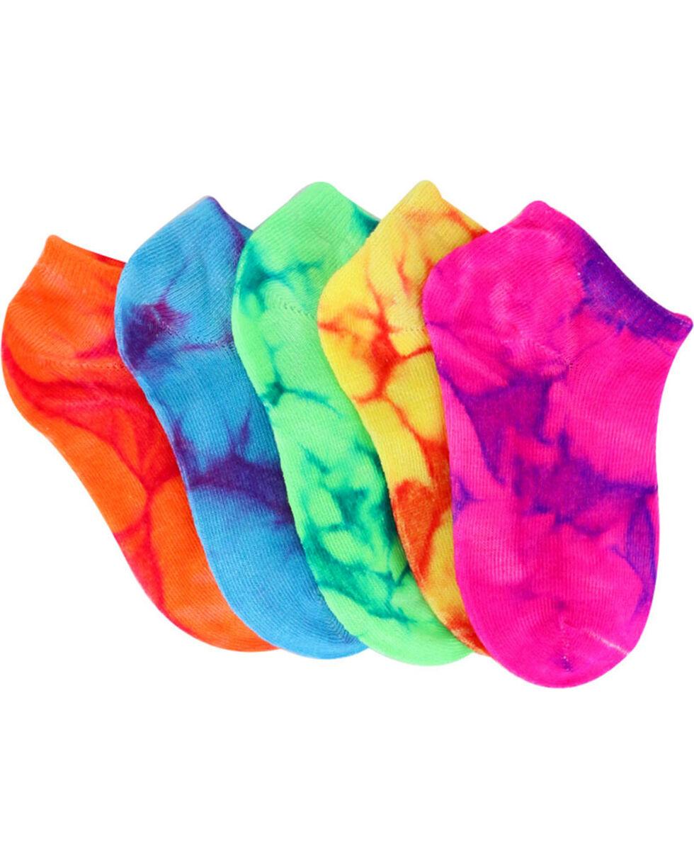 La De Da Girls' Tie-Dye No Show Sock Set, Multi, hi-res