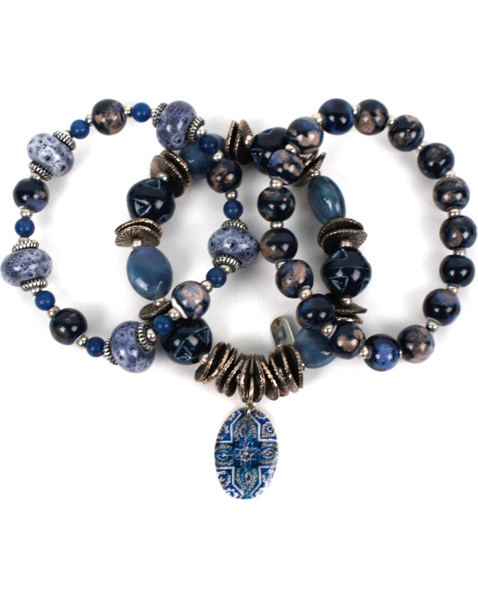 Treska Women's Three Strand Beaded Bracelet, Blue, hi-res