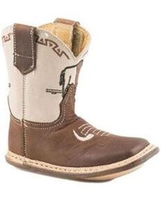 Roper Infant Boys' Cowbabies Buffalo Poppet Boots - Square Toe, Cream, hi-res