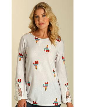 Wrangler Women's White Cacti Print Long Sleeve Top , White, hi-res