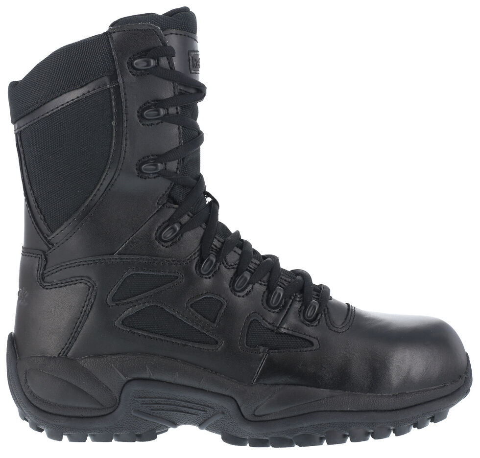 "Reebok Men's Stealth 8"" Lace-Up Black Side-Zip Work Boots, Black, hi-res"