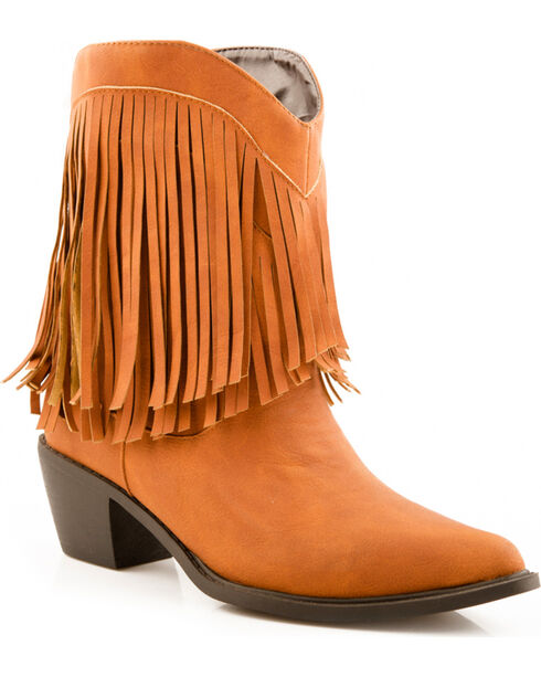 Roper Faux Leather Fringe Cowgirl Boots - Pointed Toe, Tan, hi-res