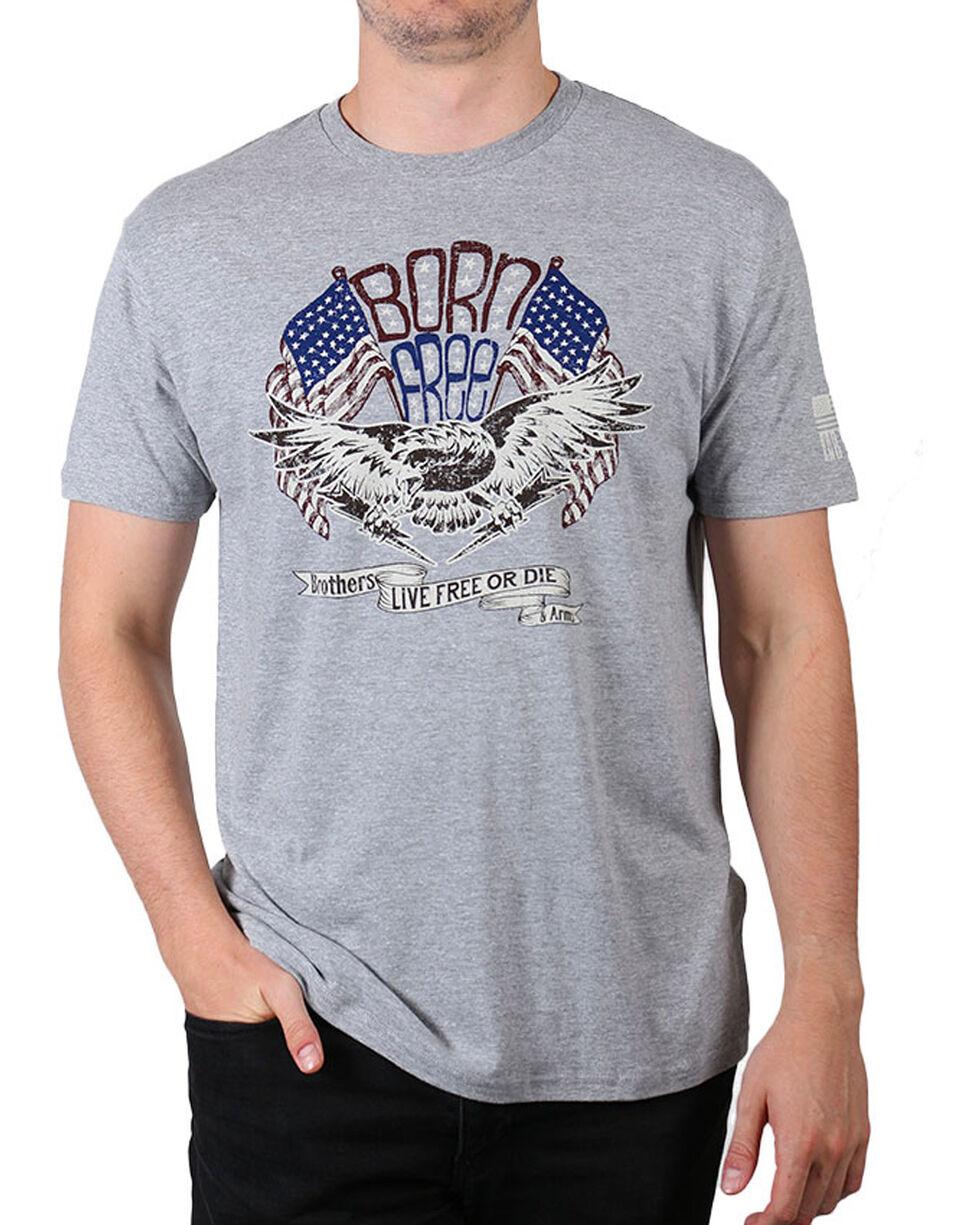 Brothers & Arms Men's Grey Born Free Short Sleeve Tee , Grey, hi-res