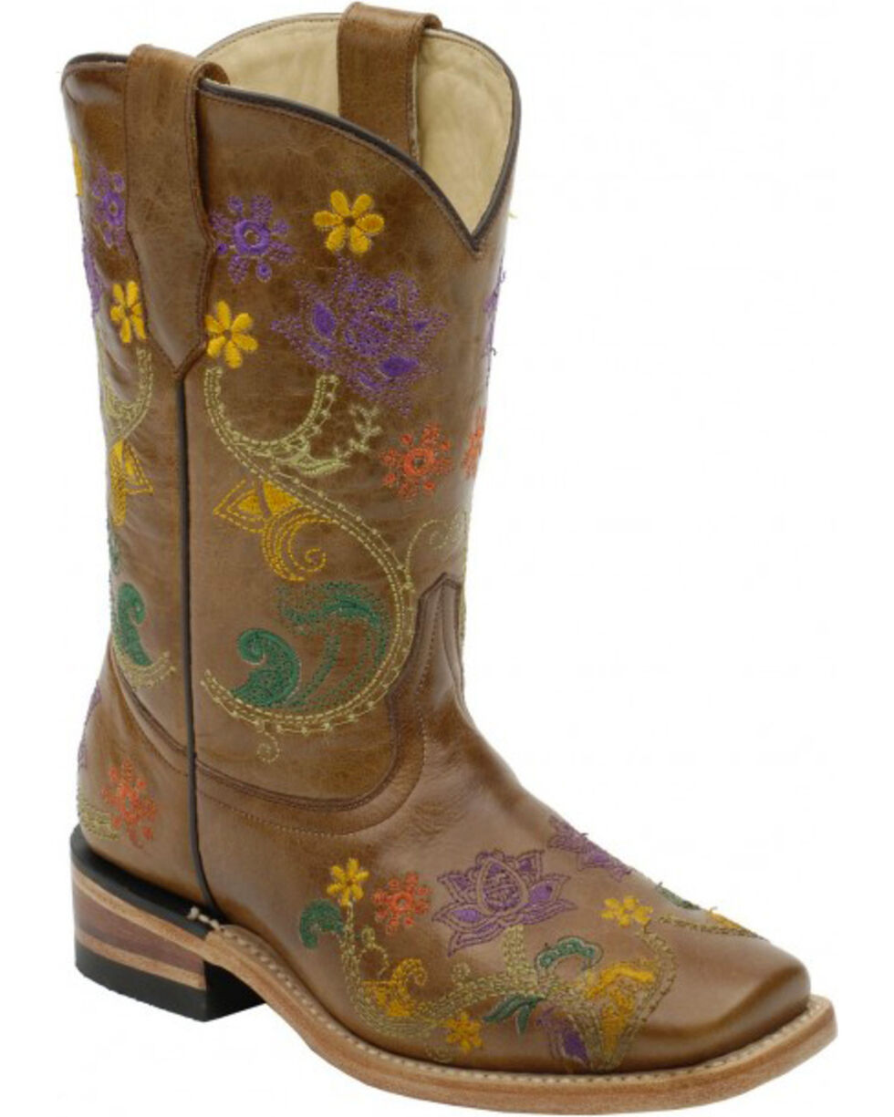 Corral Girls' Brown Multicolor Flower Vine Boots - Square Toe , Brown, hi-res