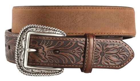 Ariat Distressed Hand Tooled Leather Belt, Brown, hi-res