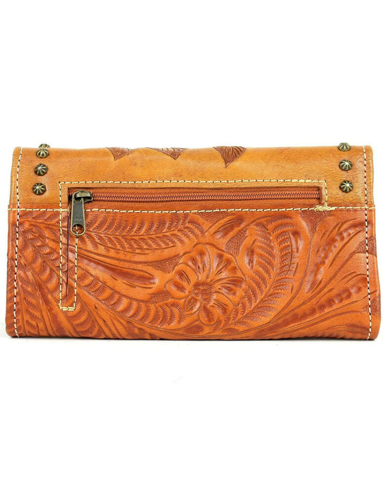 American West Women's Texas Rose Tooled Trifold Wallet, Tan, hi-res
