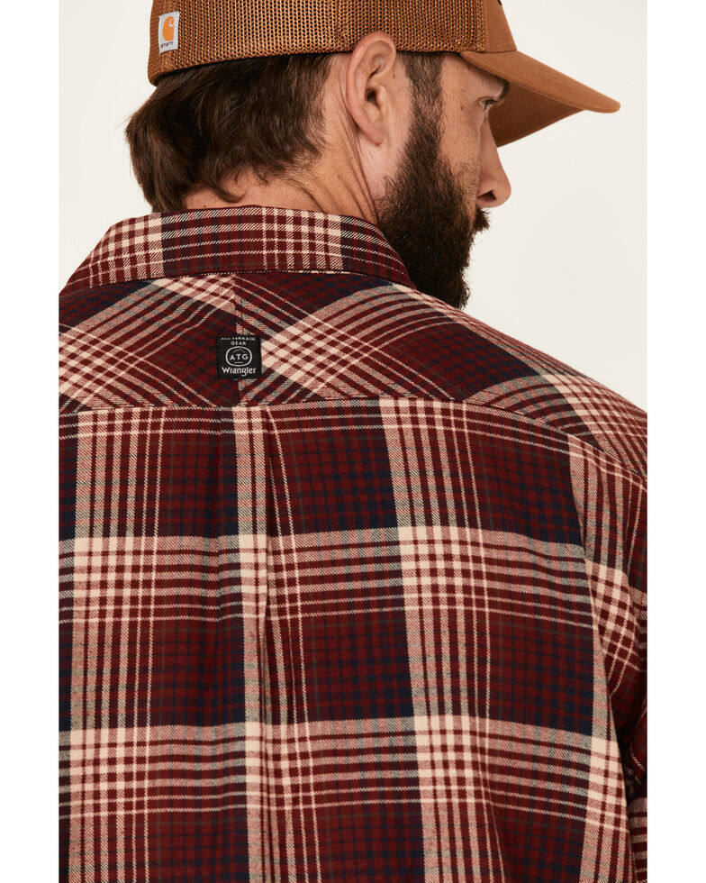 ATG™ by Wrangler All Terrain Men's Coffee Plaid Thermal Lined Long Sleeve Western Flannel Shirt , Red, hi-res