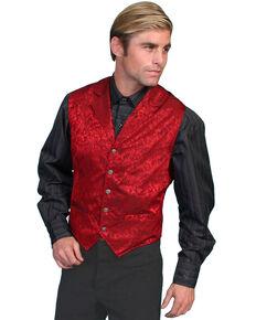Wahmaker Silk Floral Single Breasted Vest - Big & Tall, Red, hi-res