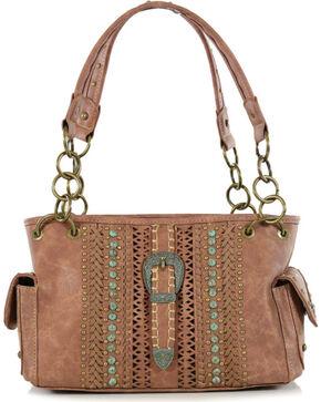 Shyanne Women's Long Horn Buckle Concealed Weapon Shoulder Bag, Brown, hi-res