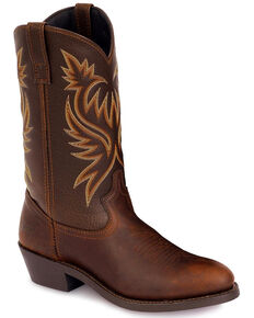Laredo Men's Paris Western Boots - Round Toe, Dark Brown, hi-res