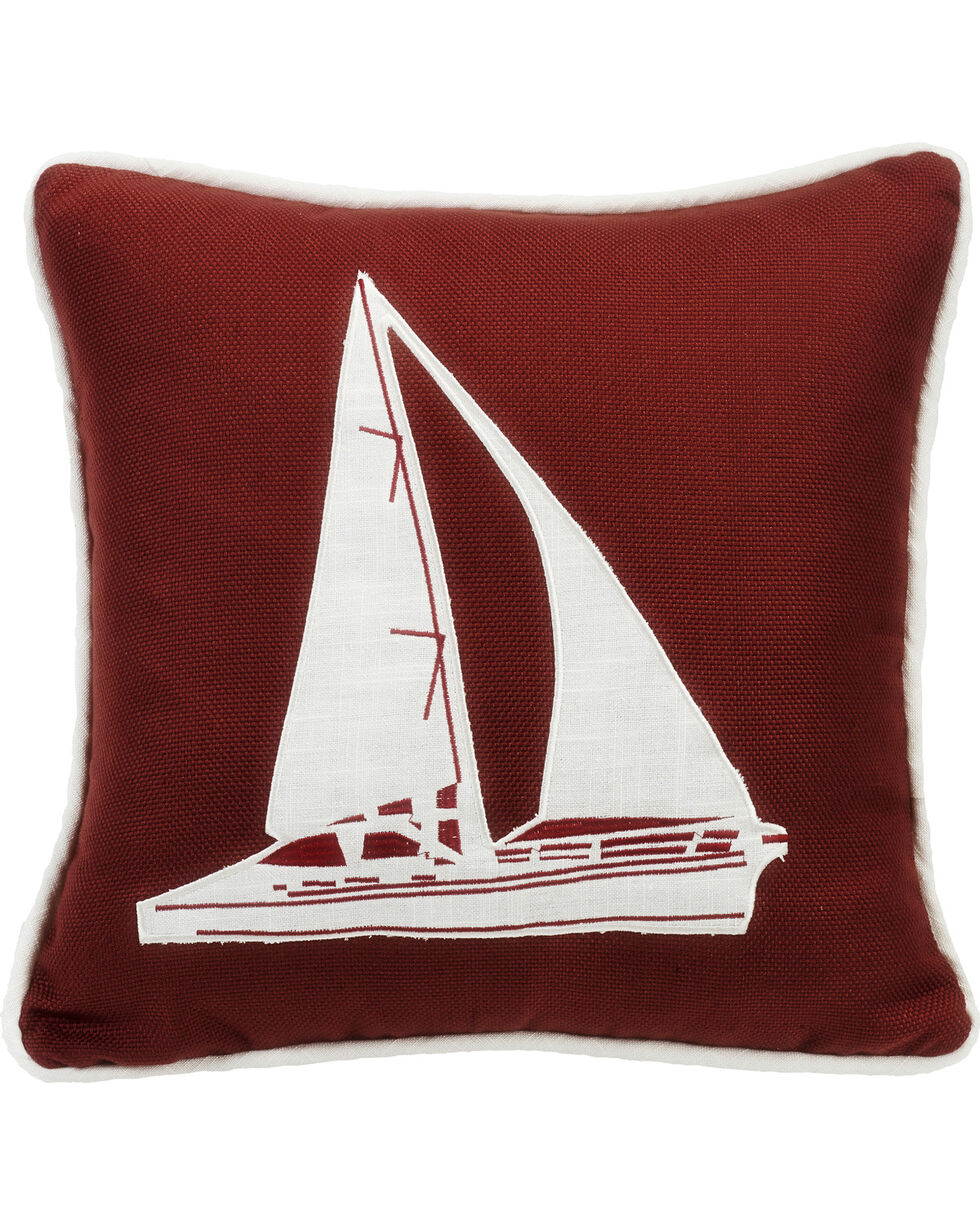 HiEnd Accents Red Sailboat Embroidery Pillow, Red, hi-res