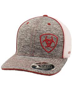 Ariat Men's Grey Offset Embroidered Shield Logo Mesh Ball Cap , Grey, hi-res