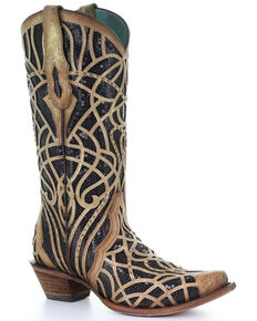 Corral Women's Black Glitter Inlay Western Boots - Snip Toe, Gold, hi-res