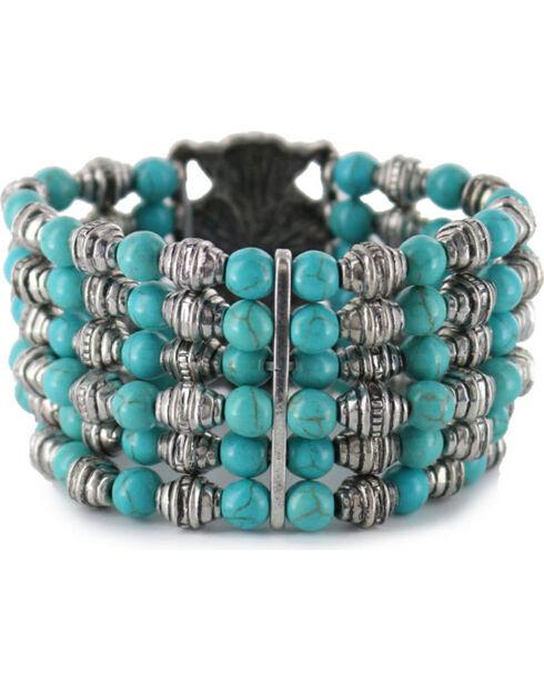 Shyanne Women's Beaded Turquoise Bracelet , Silver, hi-res