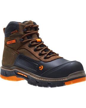 """Wolverine Men's Brown Overpass Carbonmax 6"""" Waterproof Boots - Steel Toe , Brown, hi-res"""
