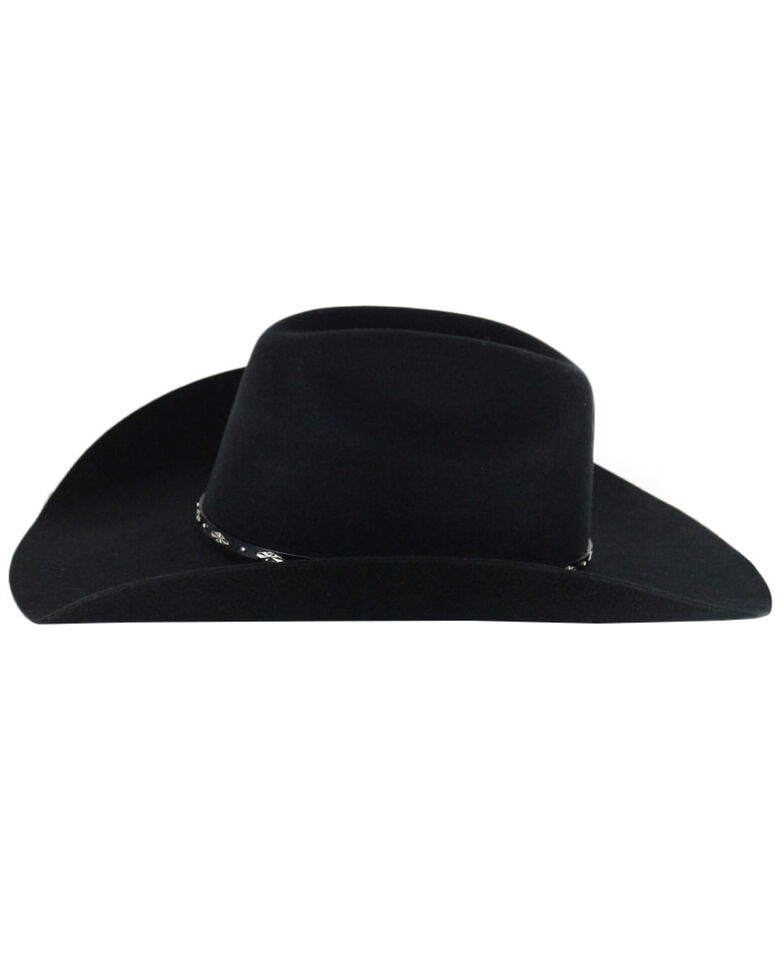 Cody James Men's Drifter 3X Rider Crown Wool Felt Cowboy Hat, Black, hi-res